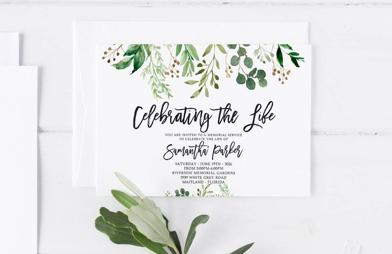 Greenery Funeral Announcement Invitation Mourning Cards Memorial Service In Loving Memory Editable Template