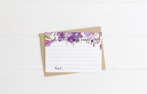 purple floral share a memory card funeral acknowledgement card etsy