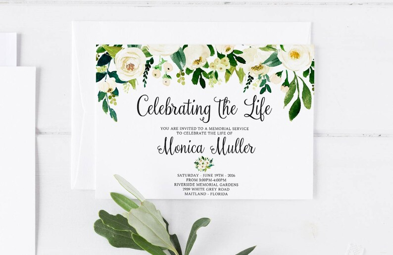 White Floral Greenery Funeral Announcement Invitation Mourning Cards Memorial Service In Loving Memory Editable Template