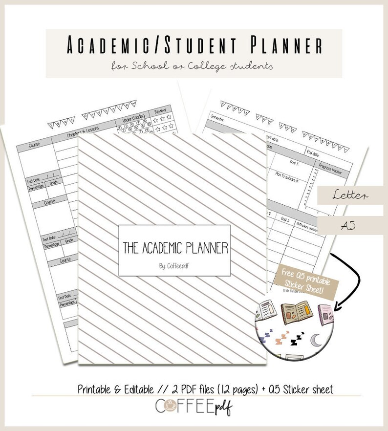 photo about College Organization Printables identified as Educational/University student Planner, Again in direction of Faculty Planner, School Planner // Printable in just Letter A5 dimension + cost-free Sticker Sheet