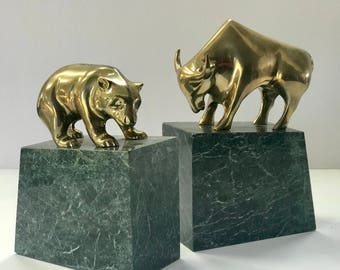 Stock Market Bull and Bear Brass and Marble Bookends