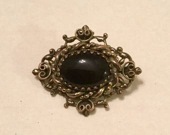 Black Onyx Brooch