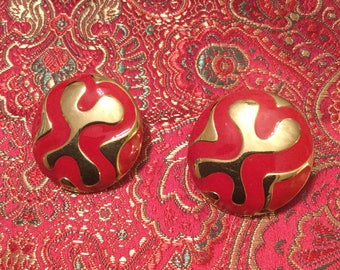 Monet Red Button Ear Clips
