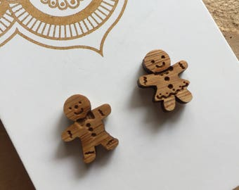 Gingerbread People Wood Studs.
