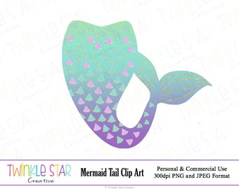 INSTANT DOWNLOAD, Mermaid Tail Clipart, Mermaid Digital Clip Art, Graphics, Turquoise, Purple, Digital Images, PNG,Personal & Commercial Use