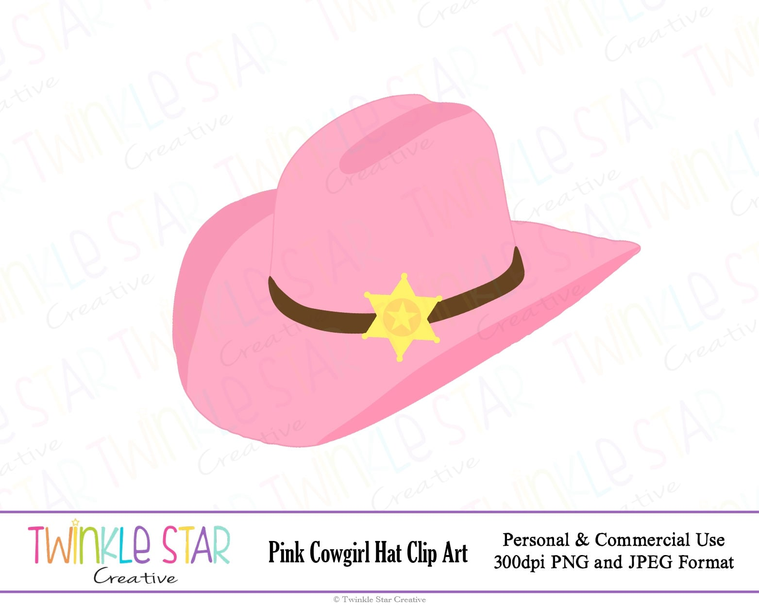 INSTANT DOWNLOAD Pink Cowgirl Hat Digital Clipart Cowboy | Etsy