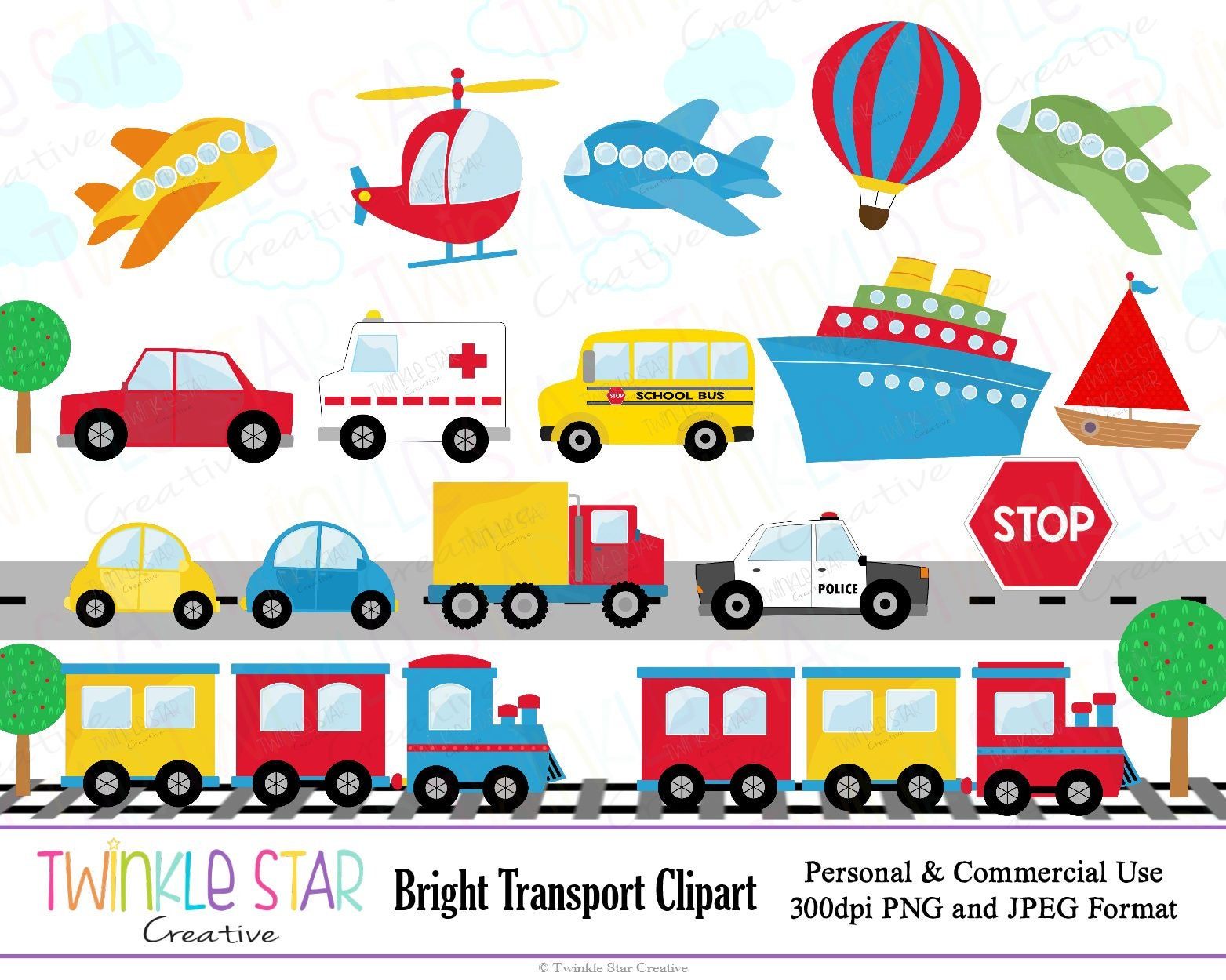 INSTANT DOWNLOAD Transport Clipart Transportation Digital