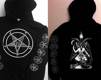 Satanic Baphomet Occult Unisex Hoodie sweatshirt Satan Lucifer Solve Coagula