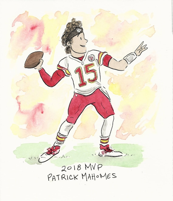 Items Similar To Patrick Mahomes Watercolor On Etsy