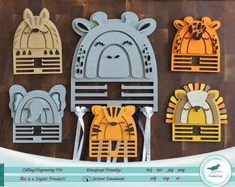 Hippo Hair-Tie Holder Design for Laser/Cutting Machines - 6 Different Designs available!