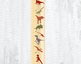 Dinosaur Themed Wall-Mounted Growth Chart for Laser/Cutting Machines – Imperial and Metric Versions Included!
