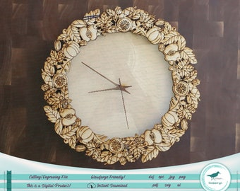 Autumn Clock or Wreath SVG - Beautiful design for laser and Cricut! Possible without Passthrough!