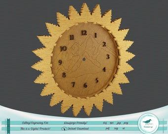 Mountain View Clock or Wreath SVG - Beautiful design for laser and Cricut! Possible without Passthrough!