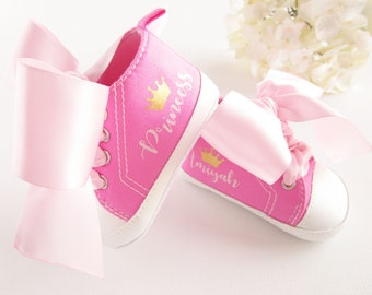 f8553b907 Princess Baby Girl Shoes   Princess 1st Birthday Outfit   First Birthday  Outfit Pink and Gold   Princess Baby Bling Shoes Baby Shower Gifts