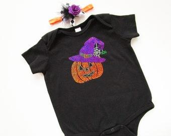 halloween pumpkin onesie and halloween headband halloween costume toddler baby halloween outfit girl halloween photo prop