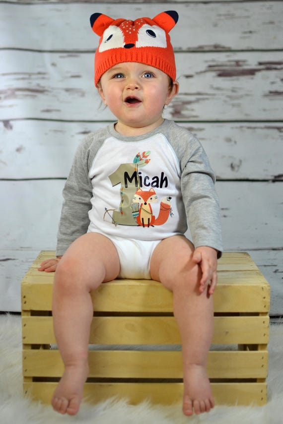 1st BIRTHDAY FOX SHIRT Baby Boys Birthday Outfit Cute