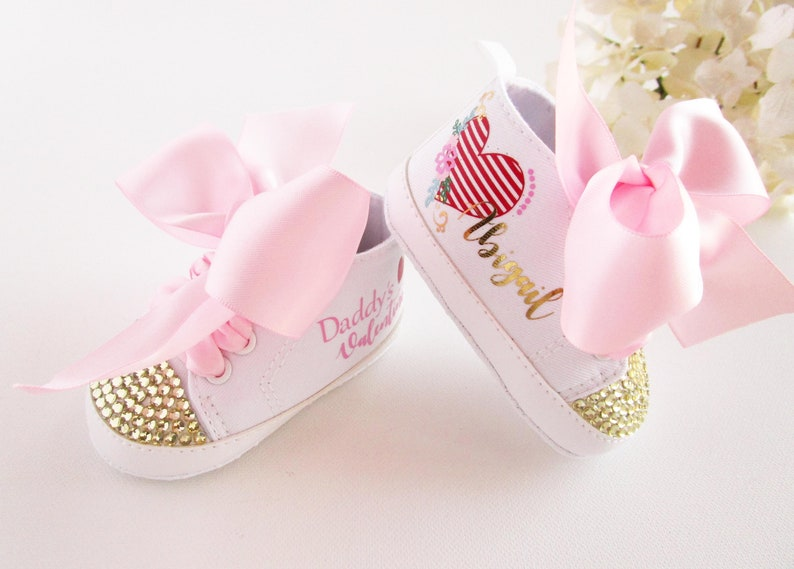 cb8b1e07c536d Valentines Day Baby Girl Outfit - Baby Girl Shoes - Daddys Valentine - 1st  Valentines Day Outfit - Baby Shower - First Birthday