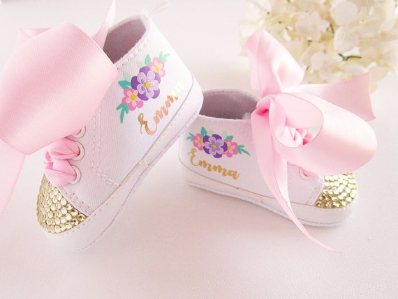 7b0e5387f12a Baby Girl Shoes First Birthday Floral Outfit Personalized