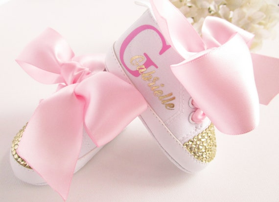 8d89ac52fb672 Pink Gold First Birthday Outfit, Pink Gold Baby Girl Shoes, Personalized  Baby Gift, Monogram Baby Girl, 1st Birthday Girl Outfit