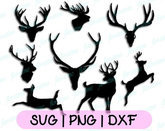 Deer Antler SVG Collection Deer Horn DXF - Antler Clipart - SVG Files for Silhouette Cameo or Cricut Commercial Use Iron On Transfer