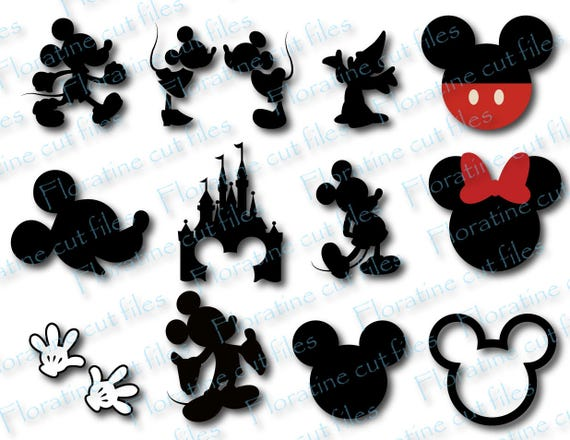 Mickey Minnie Svg Bundle Silhouette Clipart Instant Download Etsy