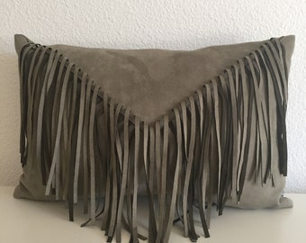 Faux suede pillow cover w/ fringe, 18x11, gray, green, olive green pillow cover, urban, boho, ecclectic, western, modern lumbar pillow cover