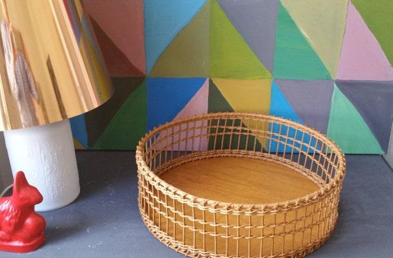 Vintage Mid Century Korb Holz Rattan Weidenkorb rund Bar Deko | Etsy