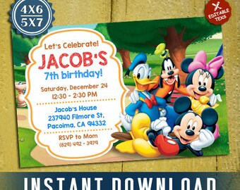 Mickey Mouse Birthday, Mickey Mouse Invitation, Mickey Mouse Editable Template, Editable Invitation, Editable PDF Template, Instant Download