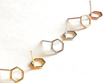 hexagon earrings studs honeycomb rose gold studs hexagon stud earrings gold geometric hexagon earring silver honeycomb stud earrings hexagon