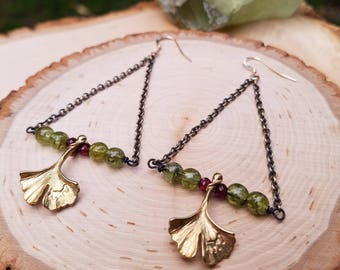 Green Garnet Ginkgo Leaf Dangle Earrings