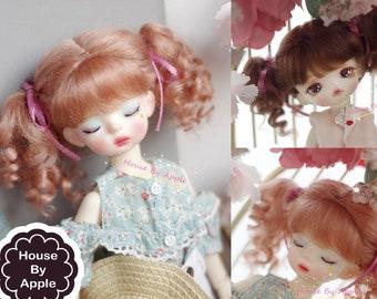 BJD Retro Princess Pigtails Hair Mohair Wig for  1/4 msd 1/6 yosd 1/8 lati yellow doll wig