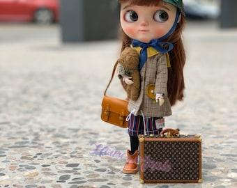 Fashion Doll Mini Suitcase Box Doll Handbag Handmade Doll Bag for Neo Blythe Holala 1/6 BJD Azone Doll Bag Outfit Custom Doll Accessories