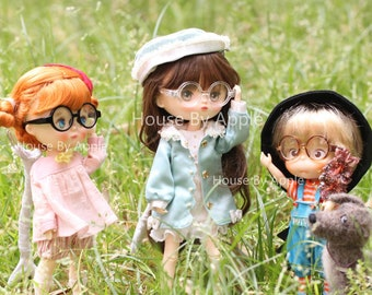 Round Plastic Frame glasses Sunglasses For Holala/Middie Blythe Doll Miniature/Cute Glasses/Doll fashion for Holala Middie Blythe