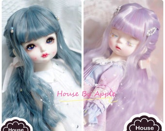 BJD Dreamy Colour Grey Blue Purple Braid Double Tails hair Wig high temperature heat resistant fiber wig for  1/3 SD 1/4 msd doll wig