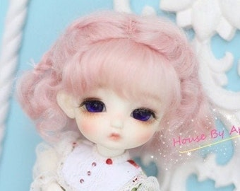 BJD Lovely Short Curly Double Braids Hair Pink Mohair Wig for  1/3 SD 1/4 msd 1/6 YOSD 1/8 Lati Yellow doll wig