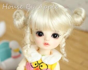 BJD Cute Blonde Double Bud head hair Imitation Mohair Wig for  1/3 SD 1/4 msd 1/6 yosd 1/8 lati yellow doll wig