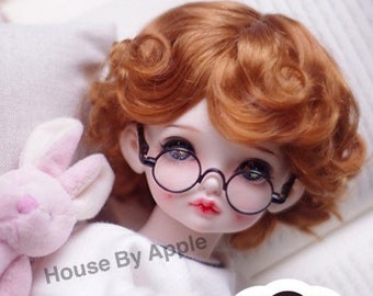 BJD Cute Light Carrot Retro Short Curly Hair Imitation Mohair Wig for  1/3 SD 1/4 msd 1/6 yosd 1/8 lati yellow doll wig