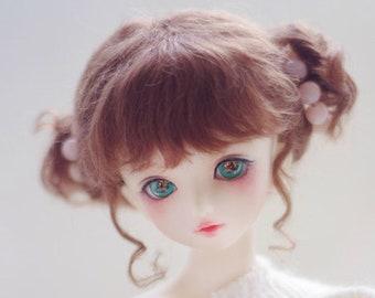 BJD Bridal Cute brown Odango Hair Mohair Wig for  1/3 SD 1/4 msd 1/6 yosd 1/8 lati yellow doll wig