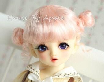 BJD Cute Pink Double Bud head hair Imitation Mohair Wig for  1/3 SD 1/4 msd 1/6 yosd 1/8 lati yellow doll wig