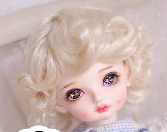 BJD Cute Light Gold Retro Short Curly Hair Imitation Mohair Wig for  1/3 SD 1/4 msd 1/6 yosd 1/8 lati yellow doll wig