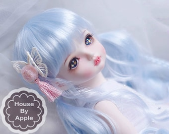 BJD Lovely Ice Blue long Pigtails hair Imitation Mohair Wig for  1/3 SD 1/4 msd 1/6 yosd imda3.0 1/8 lati yellow doll wig
