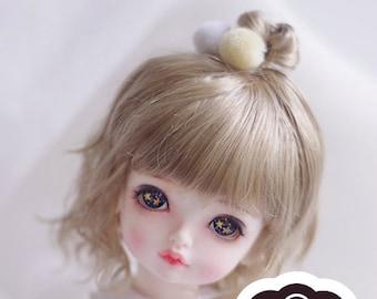 BJD cute Light Brown naturally curly hair imitation Mohair wig for  1/3 SD 1/4 msd 1/6 yosd 1/8 lati yellow wig