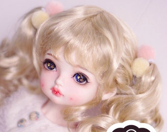 BJD Cute Light Gold Double Ponytail Curls Hair Imitation Mohair Wig for  1/3 SD 1/4 msd 1/6 yosd doll wig