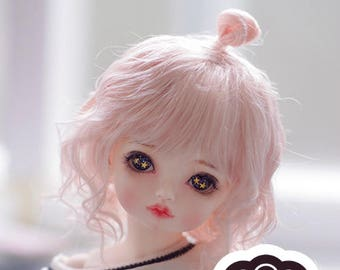 BJD cute pink naturally curly hair imitation Mohair wig for  1/3 SD 1/4 msd 1/6 yosd 1/8 lati yellow doll wig