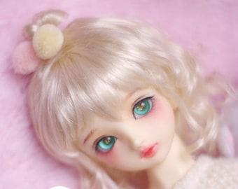 BJD cute naturally curly hair imitation Mohair wig for  1/3 SD 1/4 msd 1/6 yosd 1/8 lati yellow wig