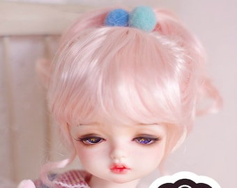 BJD Cute Pink Braids long curly hair Imitation Mohair Wig for  1/3 SD 1/4 msd 1/6 yosd 1/8 lati yellow doll wig