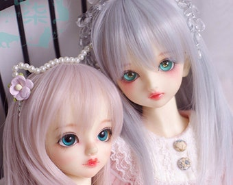 BJD Lovely Purple Gray Gray pink Naturally Long Straight Wig high temperature heat resistant fiber wig for  1/3 SD 1/4 msd 1/6 YOSD doll Wig