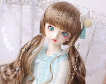 BJD Cute Brown long Pigtails hair Imitation Mohair Wig for  1/3 SD 1/4 msd 1/6 yosd imda3.0 1/8 lati yellow doll wig