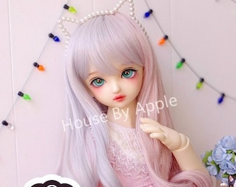 BJD Two-tone Cute Gray Pink Naturally Long Curls hair Wig high temperature heat resistant fiber wig for 1/3 SD 1/4 msd doll wig