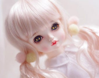 BJD Lovely Pink long Pigtails hair Imitation Mohair Wig for  1/3 SD 1/4 msd 1/6 yosd imda3.0 1/8 lati yellow doll wig
